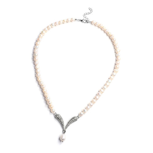 White Freshwater Pearl and Austrian White Crystal Necklace (Size 20 with 2 inch Extender) in Silver