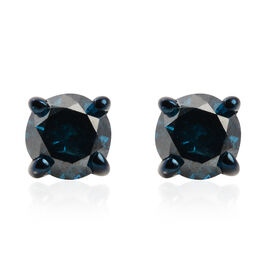 9K White Gold Blue Diamond (Rnd) Stud Earrings (with Push Back) 0.40 Ct.