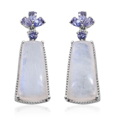 Sri Lankan Moonstone and Tanzanite Earrings (with Push Back) in Platinum Overlay Sterling Silver 42.000 Ct.