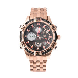 GENOA Two-Movement Watch with Multi Functional Buttons and Black Dial in Rose Gold Tone
