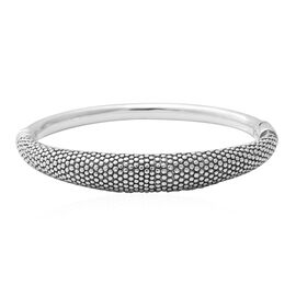 Limited Available- Rhodium Overlay Sterling Silver Bangle (Size 7), Silver wt 15.69 Gms