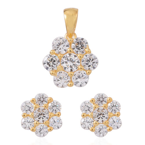ELANZA AAA Simulated Diamond (Rnd) Floral Pendant and Stud Earrings (with Push Back) in 14K Gold Overlay Sterling Silver. Silver wt. 4.98 Gms.