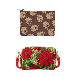 Signare Tapestry - Party Bag in Poinsettias Design (20 x 12 x 9.5 cms) with Free Zip Coin Purse