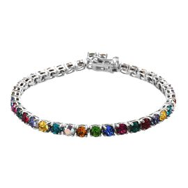 J Francis - Crystal from Swarovski Multi Crystal (Rnd) Bracelet (Size 7) in Platinum Plated