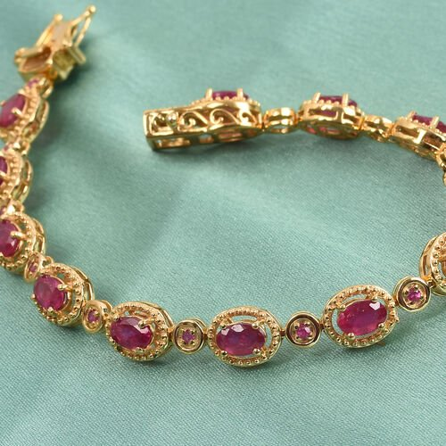 African Ruby Bracelet (Size 8) in 14K Gold Overlay Sterling Silver 10.12 Ct, Silver wt. 13.24 Gms