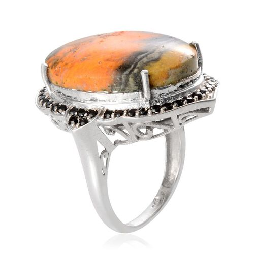 Bumble Bee Jasper (Ovl 17.50 Ct), Boi Ploi Black Spinel Ring in Platinum Overlay Sterling Silver 18.400 Ct.