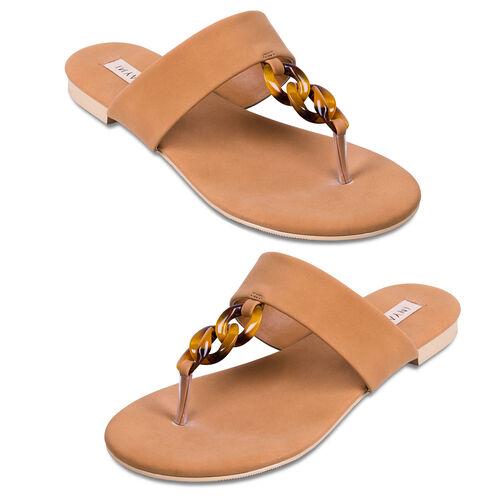 Inyati Leandra Open Toe Slip On Sandals (Size 4) - Toasted Nut