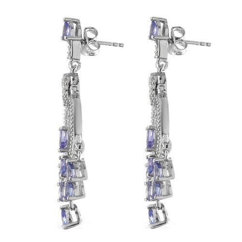 Tanzanite (Pear), Natural Cambodian Zircon Earrings in Platinum Overlay Sterling Silver 2.750 Ct. Silver wt 6.65 Gms.