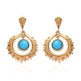 GP Arizona Sleeping Beauty Turquoise and Blue Sapphire Dangle earrinsg (with Push Back) in 14K Gold