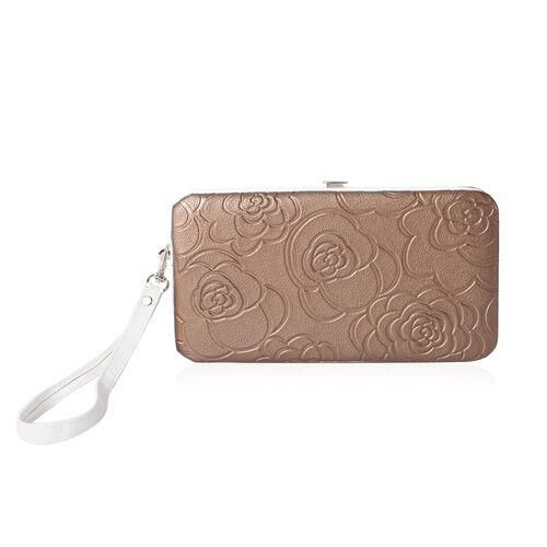 Limited Flower Embossed Pattern Golden RFID Clutch Wallet with Slot for Large Phone and Card and Cas