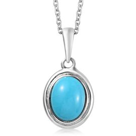 Arizona Sleeping Beauty Turquoise (Ovl 9x7mm) Pendant with Chain in Platinum Overlay Sterling Silver