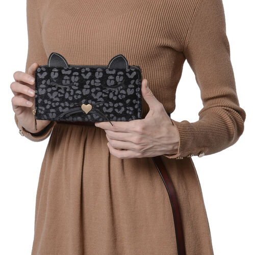 Leopard Print RFID Wallet with Decorative Cat Ears and Heart Nose - Black