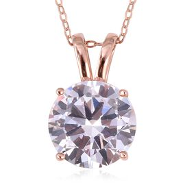 ELANZA Simulated Diamond (Rnd) Pendant With Chain (Size 18) in Rose Gold Overlay Sterling Silver