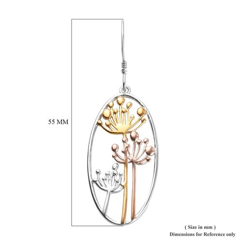 Platinum, Yellow and Rose Gold Overlay Sterling Silver Dandelion Hook Earrings, Silver wt 5.22 Gms.