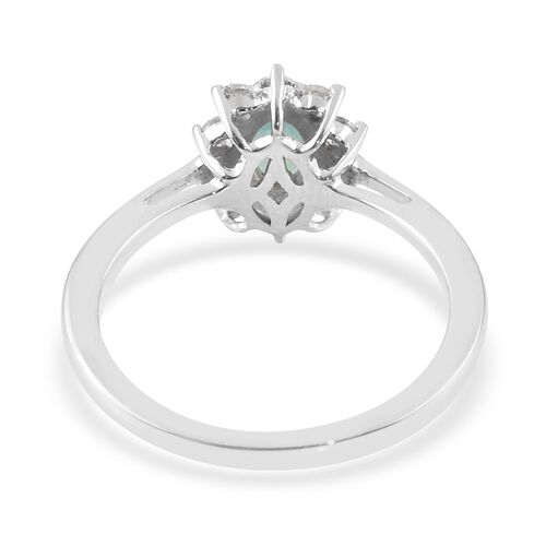 9K White Gold AA Grandidierite (Ovl 6x4mm), Natural Cambodian Zircon Floral Ring 1.00 Ct.
