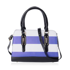 HONGKONG Close Out Blue and White Colour Stripe Pattern Tote Bag with Removable Shoulder Strap (Size 31.5x22x12.5 Cm)