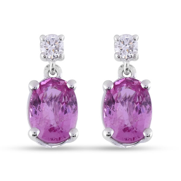 ILIANA 18K White Gold AAA Pink Sapphire and Diamond Earrings (with Screw Back) 2.00 Ct.