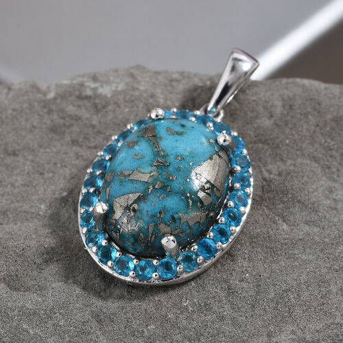 Persian Turquoise (Ovl 16x12 mm), Neon Apatite Pendant in Platinum Overlay Sterling Silver 10.500 Ct.