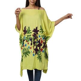 Floral printed Kaftan with Waist Belt (Size S- XXL / 91x105cm) - Olive