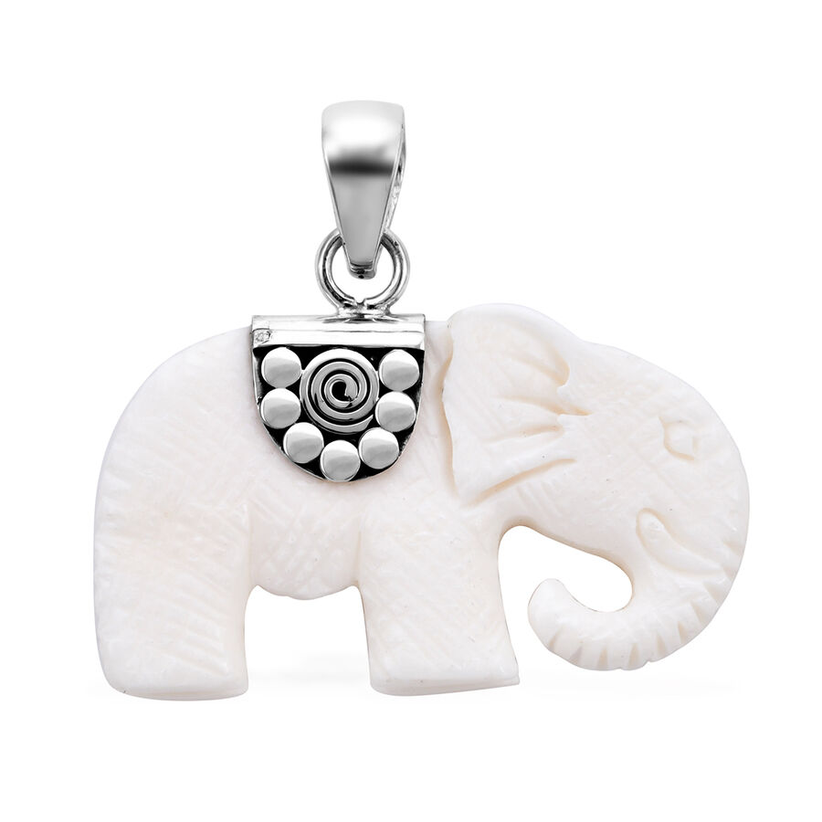 Princess Bali Collection Ox Bone Carved Face Elephant Pendant In Sterling Silver 3561166 Tjc
