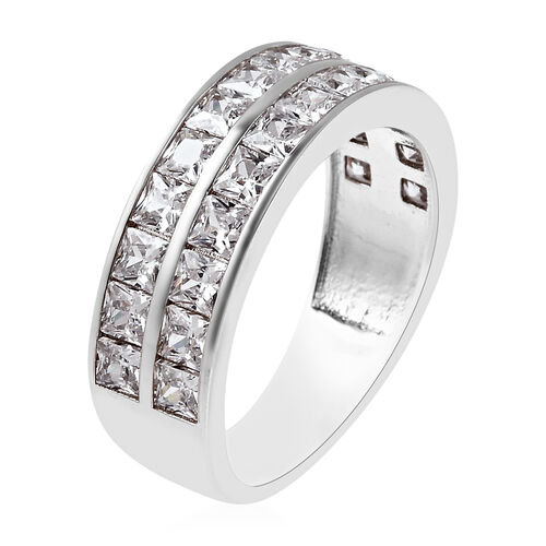 ELANZA Simulated Diamond Half Eternity Band Ring in Rhodium Overlay Sterling Silver 2.86 Ct.