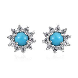 2 Carat Arizona Sleeping Beauty Turquoise and Zircon Halo Stud Earrings in Platinum Plated Silver