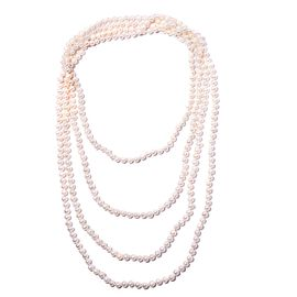 Double Lustre AAA Fresh Water White Pearl Necklace in Silver 650 Carat