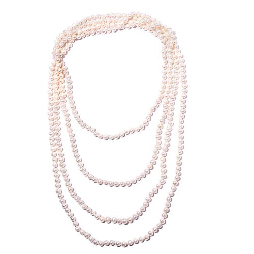 One Time Deal- Triple Lustre High Shine Lustre Freshwater White Pearl Necklace (Size 100)