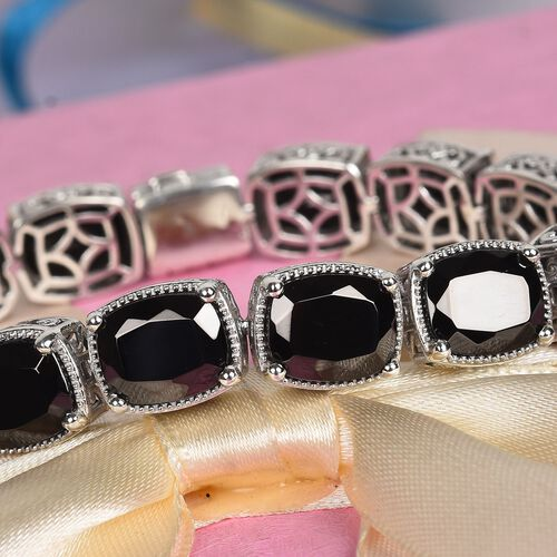 Elite Shungite Bracelet (Size 7) with Magnetic Lock in Platinum Overlay Sterling Silver 31.72 Ct, Silver wt 24.00 Gms