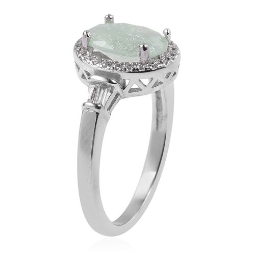 ELANZA Simulated Green Amethyst (Ovl), Simulated Diamond Ring in Rhodium Overlay Sterling Silver