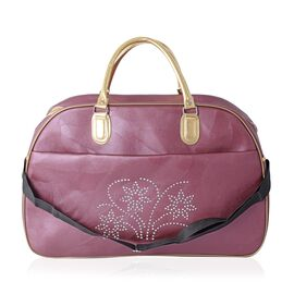 Extra Large Weekend Bag with Crystal Flower Pattern and Removable Shoulder Strap (Size 54x35x25 Cm) Purple Colour
