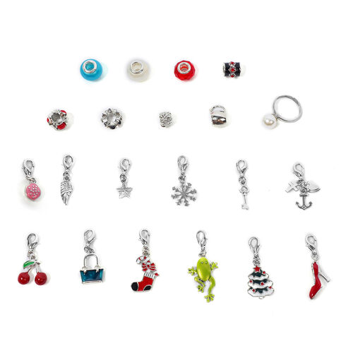 24 Piece Jewellery Set- Including Necklace (Size 21.5), Bracelet,  Adjustable Rings, Pendants with Chain (Size 31 with Extender), Earrings and Charms