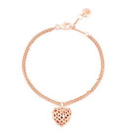 RACHEL GALLEY Rhodolite Garnet (Hrt) Bracelet (Size 7 - 8) with Heart charm in Rose Gold Overlay Ste