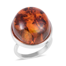 Baltic Amber (Rnd) Ring in Sterling Silver