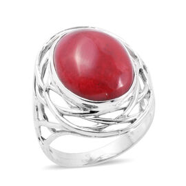 One Time Deal- Royal Bali Collection Sponge Coral (Ovl) Ring in Sterling Silver, Silver wt 5.31 Gms