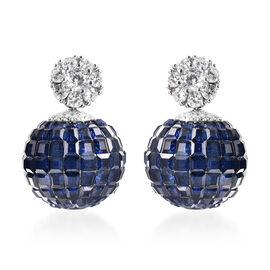 Lustro Stella - Mystery Setting Simulated Blue Sapphire and Simulated Diamond Earrings (with Push Ba