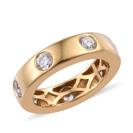 J Francis - 14K Gold Overlay Sterling Silver (Rnd) Band Ring (Size O) Made with SWAROVSKI ZIRCONIA