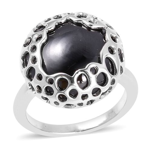 Super Auction-RACHEL GALLEY Boi Ploi Black Spinel (Rnd 15mm) Lattice Ring in Rhodium Overlay Sterling Silver 17.515 Ct.