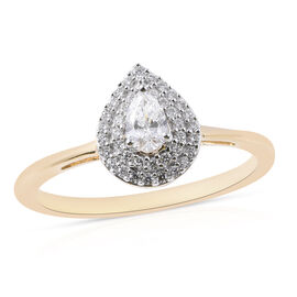 ILIANA 18K Yellow Gold IGI Certified Diamond (Pear and Rnd) (SI/G-H) Ring 0.400Ct.