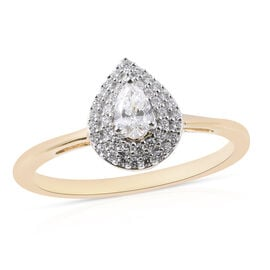 ILIANA 0.40 Ct Diamond Halo Ring in 18K Yellow Gold 3.32 Grams IGI Certified SI GH