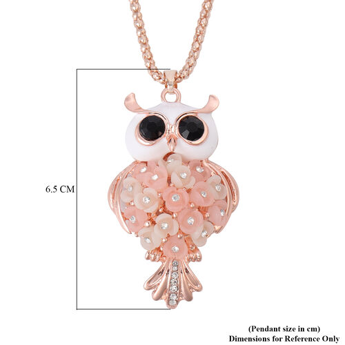 Black and White Austrian Crystal Enamelled Hedwig Pendant with Chain (Size 30 with Extender) in Rose Gold Tone