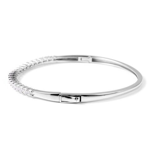 ELANZA Simulated Diamond (Rnd) Bangle (Size 7.5) in Rhodium Overlay Sterling Silver, Silver wt 10 Gms