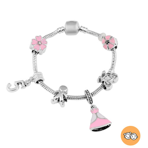 Children Happy 5 Birthday Charms Bracelet in White Austrian Crystal Size 6.5 with Silver Tone