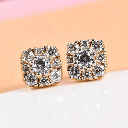 J Francis - 14K Gold Overlay Sterling Silver Stud Earrings (with Push Back) Made with SWAROVSKI ZIRCONIA 1.00 Ct.