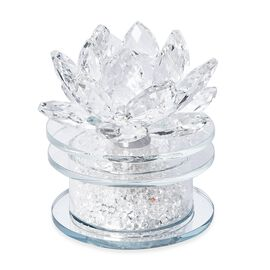 Crystal Lotus Flower Table Lamp with Multicolour LED and Rotating Base (Size 10x10 Cm) - White