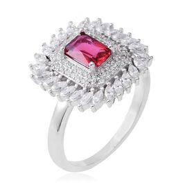 ELANZA Simulated Ruby (Oct), Simulated Diamond Ring in Rhodium Overlay Sterling Silver