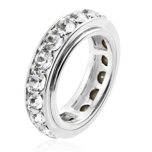 J Francis Crystal from Swarovski - White Crystal (Rnd) Spinner Ring in Sterling Silver, Silver wt 8.40 Gms.