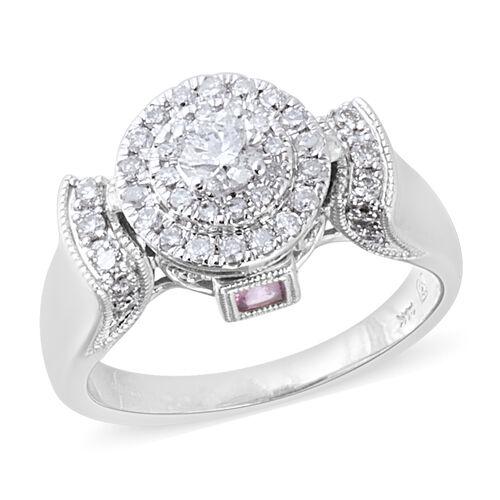 14K White Gold AA Pink Sapphire (Sqr) (I1-I2/G-H) Diamond Ring 0.802 Ct.