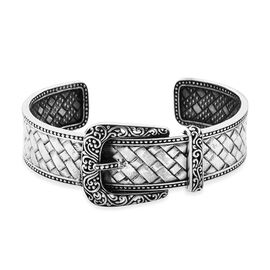 Royal Bali Collection - Sterling Silver Buckle Cuff Bangle (Size 7.25), Silver wt 40.00 Gms