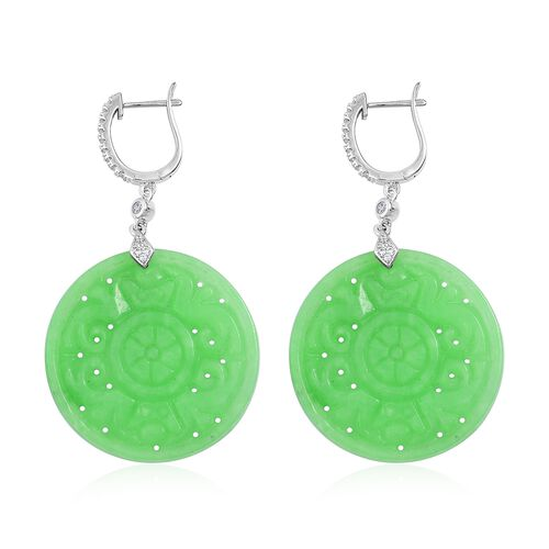Limited Edition-Buddhist Dharma Wheel Carved Green Jade (Rnd), Natural White Cambodian Zircon Earrin